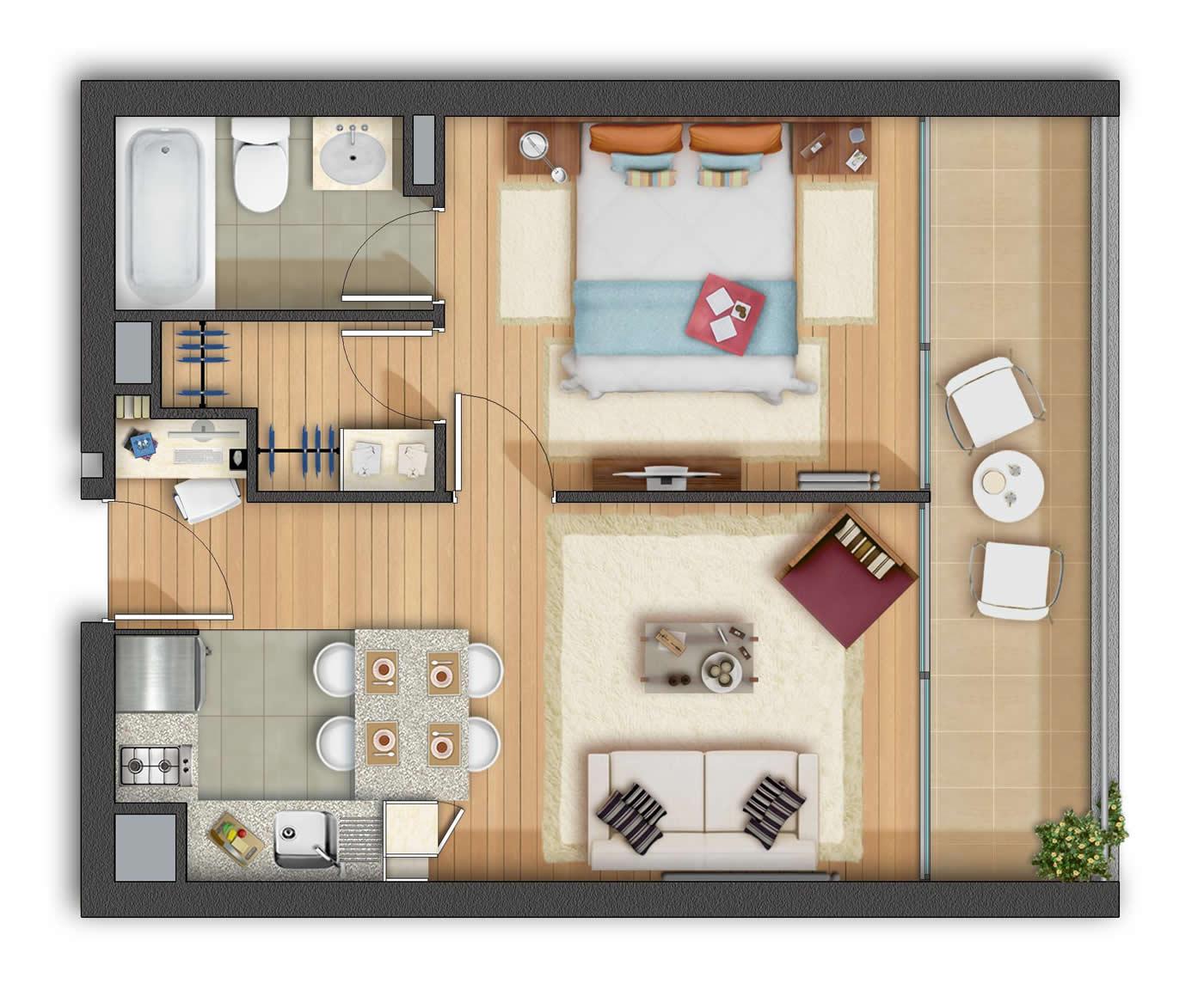Departamentos de 1 y 2 ambientes tendr n una alta demanda for Departamentos decorados con plantas