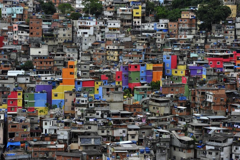 View of the Rocinha shantytown in Rio de