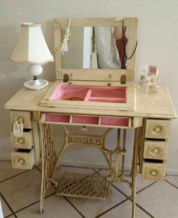 Reciclar antiguas máquinas de coser en muebles vintage  Goplaceit