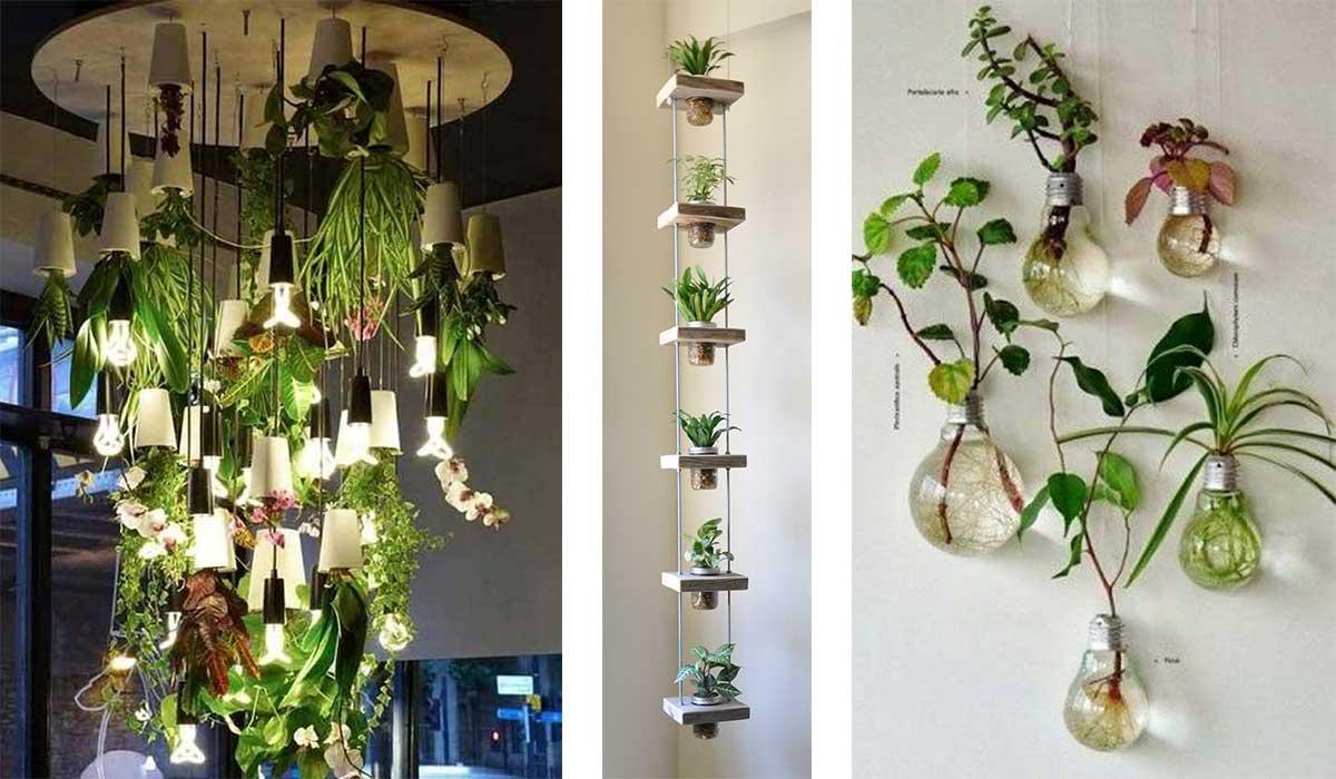 17 creativas ideas para ponerle verde a tus espacios for Jardines colgantes para interiores