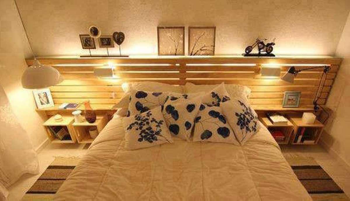10 creativas ideas para crear tu propio respaldo sin for Base de cama matrimonial con tarimas